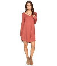 Culture Phit Mille Long Sleeve Dress With Strap Detail Brick Women's Dress Red