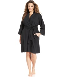 Jockey Plus Size Cotton Interlock Robe Black