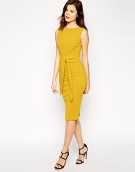 Asos Pencil Dress With Tie Front In Crepe Yellow