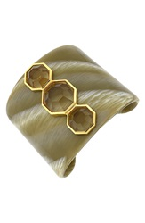 Louise Et Cie '3 Horn Drama' Cuff Bracelet Gold Horn Champagne Crystal