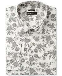 Bar Iii Men's Slim Fit Stretch Mistic Grey Rose Print Dress Shirt Only At Macy's