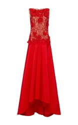 Naeem Khan Sleeveless Beaded Bodice Taffeta Gown Red