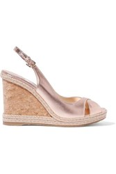 Jimmy Choo Amely 105 Metallic Leather Espadrille Wedge Sandals Gold