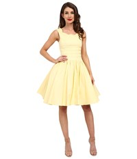 Unique Vintage Roman Holiday Brushed Cotton Swing Dress Yellow Women's Dress