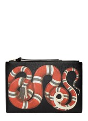 Gucci Snake Print Leather Pouch Black
