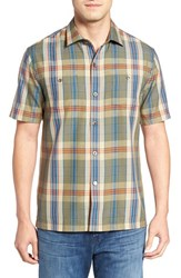 Tommy Bahama Men's Paratay Original Fit Plaid Silk Camp Shirt Tank