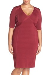 Adrianna Papell V Neck Sweater Knit Sheath Dress Plus Size Red