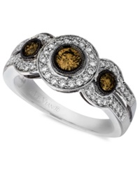 Le Vian Diamond Chocolate Diamond White Diamond Three Stone 3 4 Ct. T.W. In 14K White Gold