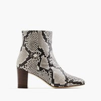 J.Crew Heeled Ankle Boots In Snakeskin Printed Leather Ivory Black