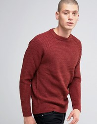 D Struct Chunky Ribbed Crew Neck Jumper Red