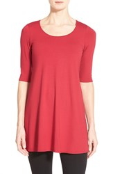 Women's Eileen Fisher Scoop Neck Elbow Sleeve Jersey Tunic Red Rose