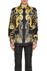 Versace Printed Silk Button Down In Black Floral Yellow
