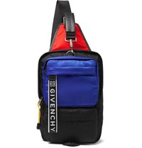 Givenchy Ut3 Colour Block Logo Print Leather Trimmed Shell Backpack Black