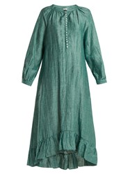 Masscob Ruffled Hem Linen Blend Dress Green