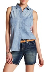 Silver Jeans Co. Sleeveless Chambray Plaid Tank Blue