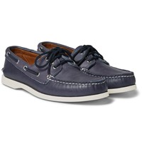 Quoddy Downeast Leather Boat Shoes Blue