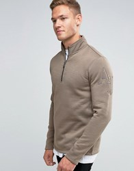 Armani Jeans Sweatshirt With Half Zip And Logo Sleeve In Stone Light Brown