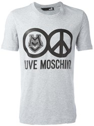 Love Moschino Peace Print T Shirt Grey