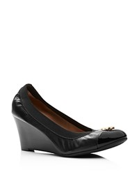 Tory Burch Jolie Cap Toe Wedge Pumps Black Gold