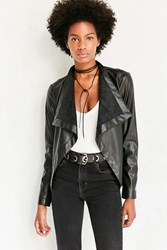 Bb Dakota Vegan Leather Waterfall Jacket Black