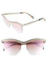 Moschino 57Mm Rimless Metal Bar Polarized Sunglasses Gold Metal
