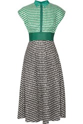 Lela Rose Gingham Crinkled Voile Midi Dress Green