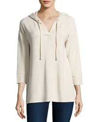 Neiman Marcus 3 4 Sleeve Hooded Top Beige