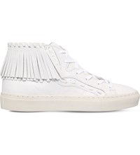 Kg By Kurt Geiger Lakes Leather High Top Trainers White