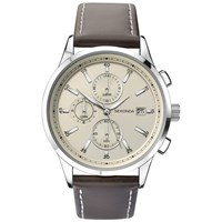 Sekonda 1394.27 Men's Chronograph Date Leather Strap Watch Dark Brown Cream