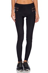 Blue Life Fit Zipper Moto Legging Black