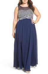 Decode 1.8 Plus Size Women's Beaded Illusion Bodice A Line Gown