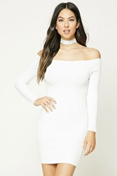 Forever 21 Off The Shoulder Bodycon Dress Ivory