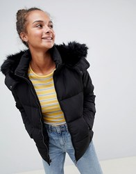 Only Rhonda Down Quilted Jacket With Faux Fur Trim Black