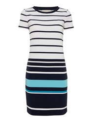 Michael Kors Short Sleeve T Shirt Style Striped Dress Peacock Blue