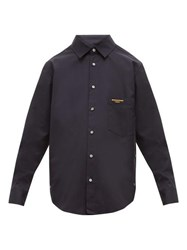 Wooyoungmi Logo Embroidered Cotton Shirt Navy