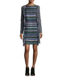 Lela Rose Long Sleeve Fringe Shift Dress Multi Colors