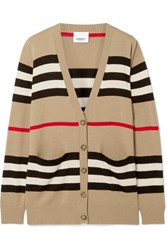 Burberry Oversized Striped Merino Wool Cardigan Beige