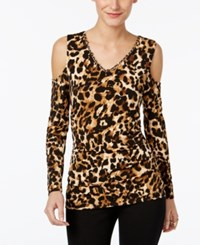 Thalia Sodi Animal Print Cold Shoulder Top Only At Macy's Leopard