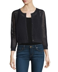 Milly 3 4 Sleeve Button Front Mesh Cardigan Black