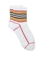 Burberry Icon Stripe Cotton Blend Socks White