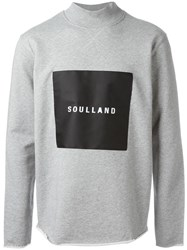 Soulland Ripped Logo Print Sweater Grey