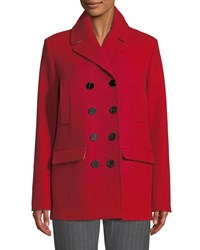 Piazza Sempione Double Breasted Wool Melton Pea Coat Red