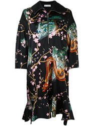 Paco Rabanne Dragon Print Kimono Dress Black