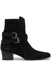 Amiri Woman Buckle Detailed Suede Ankle Boots Black