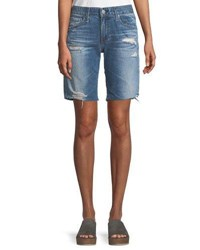 Ag Jeans Nikki Distressed Relaxed Skinny Shorts Blue