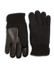 Portolano Paneled Cashmere Gloves Black