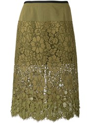 Dries Van Noten Embroidered Skirt Green