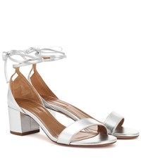 Aquazzura City 50 Metallic Leather Sandals Silver