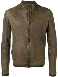 Salvatore Santoro Worn Effect Leather Jacket Brown