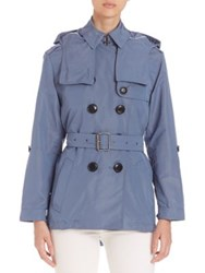 Burberry Knightsdale Short Hooded Trenchcoat Pale Lupin Blue